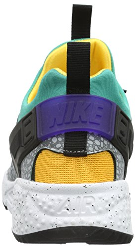 Nike Air Huarache Utility Premium, Baskets Basses Homme, Noir (Schwarz) Blanc (White/Blue/Green)