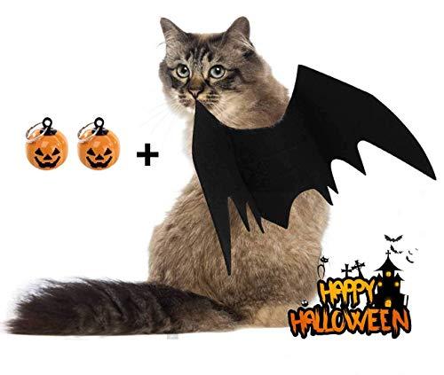 Jiaxingo 2 Stück Halloween Kostüm Haustier Katze Fledermaus Flügel für Halloween Party Cosplay Dekoration, Haustier Fledermaus Kostüm mit 2 Stück Kürbis Glocke Cute Puppy Cat Dress Up Zubehör