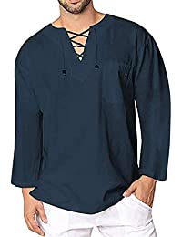 BUSIM Men's Long Sleeved Shirt Autumn Winter Retro Casual Linen Lace Solid Color Personality Lace Pullover T-Shirt...