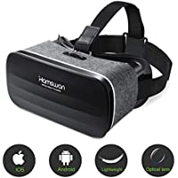 Lunette 3D VR, Casque de Réalité Virtuelle, HAMSWAN Lunette Virtuelle le plus Léger pour 3D Films et Jeux Compatibles avec iphone et Autres Smartphones sous Android 4.0 à 6.0 (Gris)