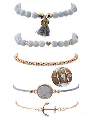 5 teiliges Armband Set   Bohemian Indi Style   Verstellbar   Gold Weiß Grau Rose   Modeschmuck Glitzer Herz Welt Armreif Frau Mädchen Love Marmor Liebe Anker