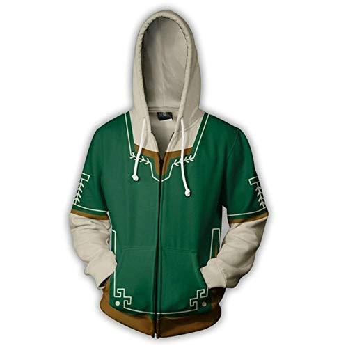 WonWg 3D HD Junge Mädchen Hoodies Print Sweatshirts Mantel Tops Pullover Unisex Cosplay Legend of Zelda Zipper XS -