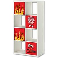 Feuerwehr Möbelsticker / Aufkleber-Set - ER30 - passend für das Regal EXPEDIT / KALLAX von IKEA