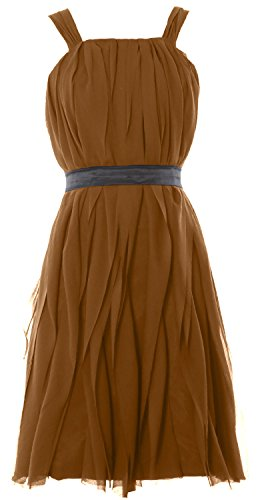 MACloth Women Short Bridesmaid Dress Straps Chiffon Cocktail Party Formal Gown Braun