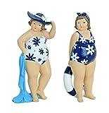 Frau im weiß geblümten Badeanzug mit Handtuch 21 cm für Tisch Kommode Schrank Mädchen Rubensfrau Dame Dicke Frau Badezimmer Figur