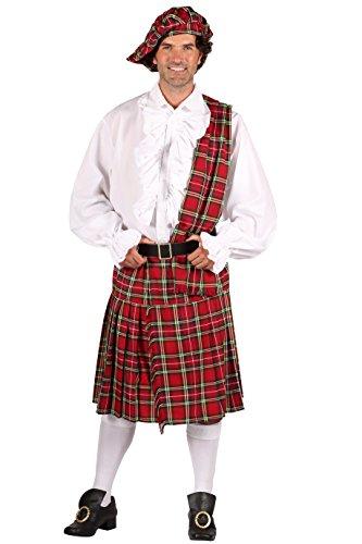 Schotten-Kostüm in rot   Schotten-Rock 3 tlg. für Herren (XL)