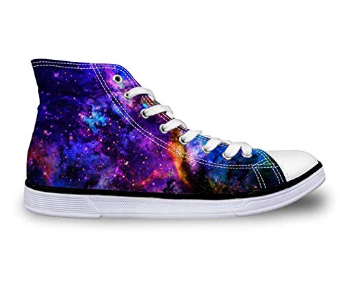Galaxy High Top Canvas Shoes Women Fashion Flat Comfort Shoes Lace-up Sneakers 10 Purple US 6