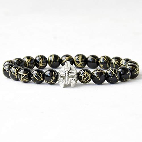 Männer Roman Warrior Gladiator Spartan Helm Armband Perlen Onyx Stein Armbänder Für Männer Schmuck ()