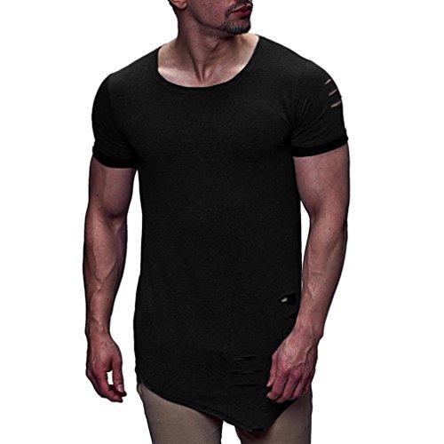 Jaminy Herren T-Shirt Sweatshirt Rundhals Ausschnitt Kurzarm Lange Ärmel Top Basic Shirt Vintage Sweatshirt Mode Persönlichkeit Loch Männer Casual Schlank Kurzarm-Shirt Top Bluse (M, Schwarz)