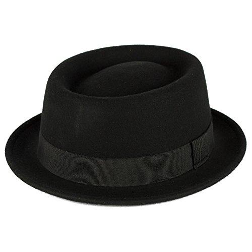 Hommes/Dames/Femmes 100% Laine Pork Pie Chapeau/Capuchon/Hat Plaine Feutre Imperméable & Déformable Black