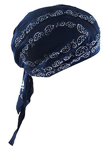 Coiffure de sport Séchage Protection rapide contre les rayons UV du soleil Cyclisme Bandana Bonnet de cycliste pour moto, casque, casque de basse pour crâne de coton, bandana en coton bleu profond