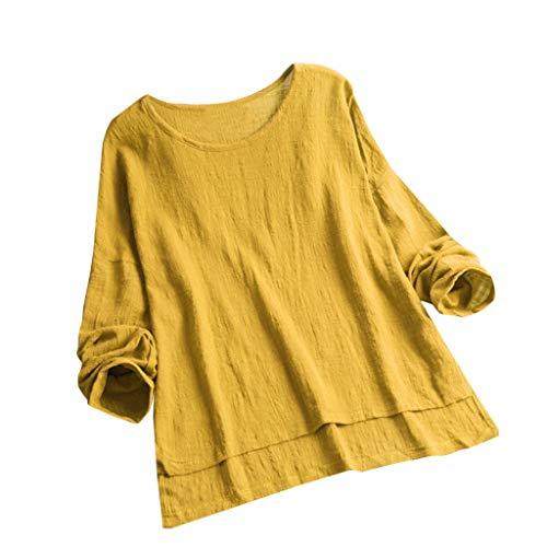 Zegeey Damen T-Shirt Bluse Vintage Rundhals Baumwolle Und Leinen Sommer LäSsige Knopfleiste Solide Tunika Pullover Oberteil Tops Shirts(D3-Gelb,EU-42/CN-XL)