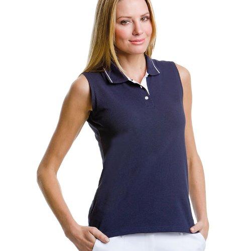 GameGear Gamegear ® proaktive ärmellose Polo Frauen- Navy / Weiß