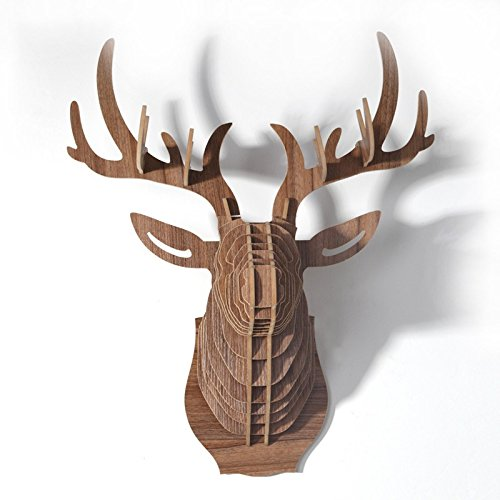 Le comptoir canadien Tête de cerf Naturel en Bois en 3D - Naturel