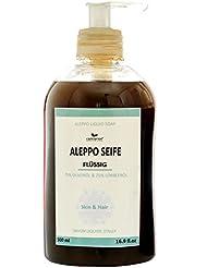 'Savon d'Alep liquide 500ml avec distributeur–75% huile d'olive + 25% huile de laurier–Shampooing Gel Douche...