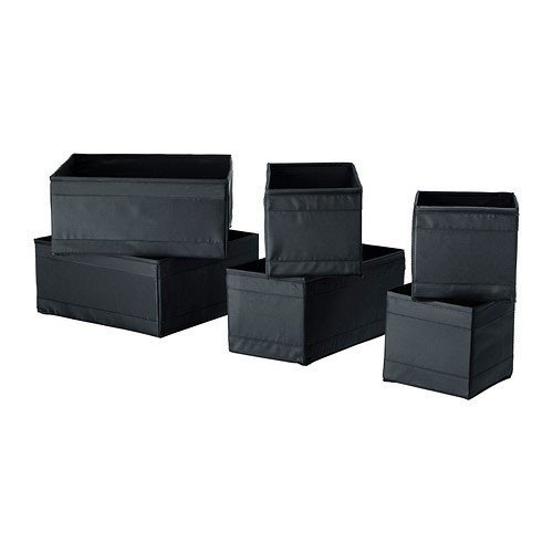 IKEA-Set-Of-6-Boxes-Organiser-Keep-Your-Drawers-Tidy-BLACK-by-Ikea