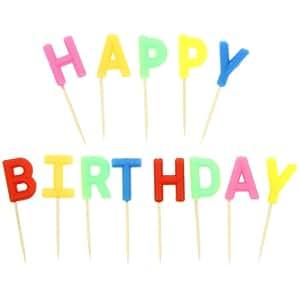 Promobo -Coffret Lot Bougies d'anniversaires à planter Inscription Happy Birthday
