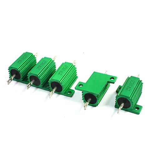 sourcingmap® 5 pz verde calore rubinetto alluminio alloggiato 25Watt 18 Ohm avvolto (Centro Telaio Di Montaggio)