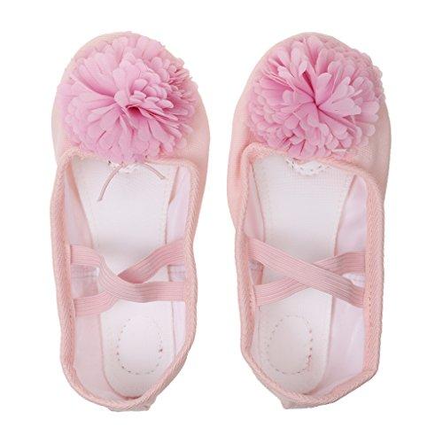 Gazechimp Chaussons de Danse Classique Toile Ballerine Demi-pointes Yoga Semelle Cuir pour Enfants Filles - Rose, 30