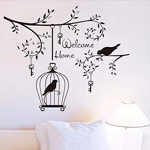 Waofe welcom home soggiorno adesivo decorativo da parete uccelli nell'albero vinile estraibile con chiavi e gabbie per uccelli decalcomanie da 44 * 52 cm