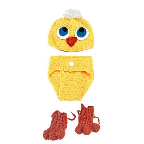 Handgemachte Kostüme Für Halloween Babys (XY Fancy Baby Säugling Neugeborene Unisex gestrickte Anzug niedliche gelbe Ente Blick handgemachte strickte Hut Hosen Schuh Baby Foto Schuss Stützen Kind)