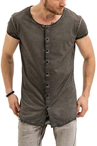 trueprodigy Casual Herren Marken Shirt Short Sleeve Einfarbig Basic, Oberteil Cool und Stylisch mit Rundhals (Kurzarm & Slim Fit), T-Shirt für Männer in, Größe:M, Farben:Anthrazite