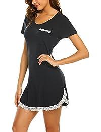 MAXMODA Nachthemd Damen Schlafshirt Nachtkleid Kurzarm Sexy Sleepshirt S-XXL