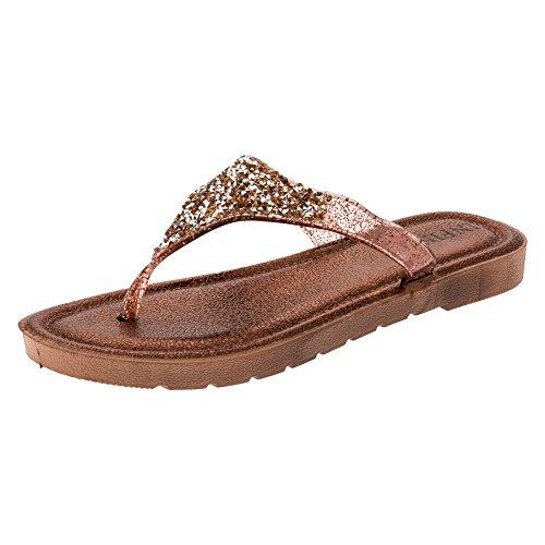Dedos Trenner Com Cintilante Para Senhoras, Sandálias, Praia Sapatos Marrons Em Quatro Cores # 191br