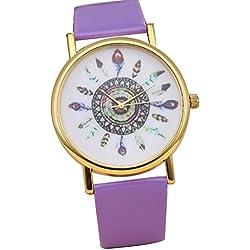 Secret Paradise Attractive Womens Vintage Indian Feather Dial Leather Quartz Analog Unique Wrist Watches Purple
