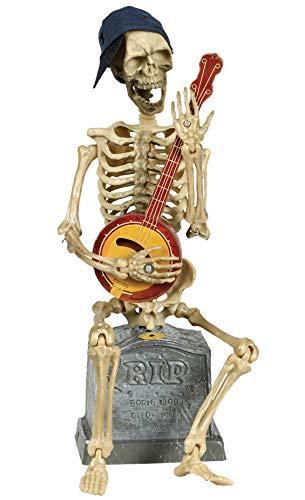 (Guirca Skelett mit Banjo Deko mit Musik Totenkopf Grabstein Halloween Party Gruselig 33 cm)