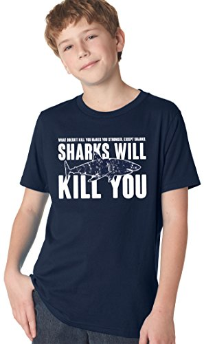 Jungen Für Kiefer-t-shirt (Crazy Dog TShirts - Youth Sharks Will Kill You Funny Shark T shirt Sarcasm Novelty Offensive Shirts (Navy) XL - jungen - XL)
