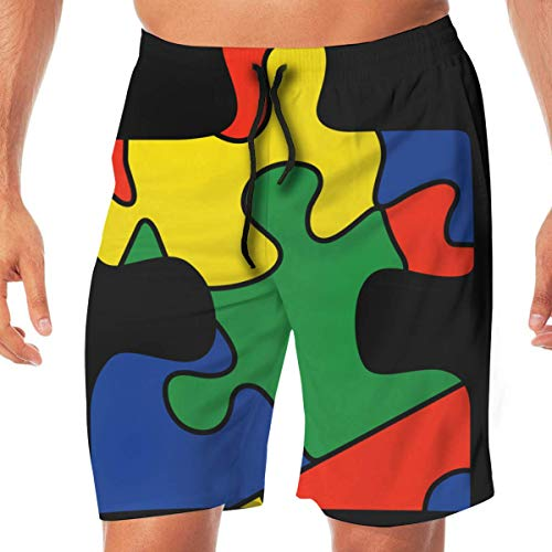 Generic Mens Athletic Shorts Autism Awareness Quick Dry Beach Boardshort with Pocket,XL -