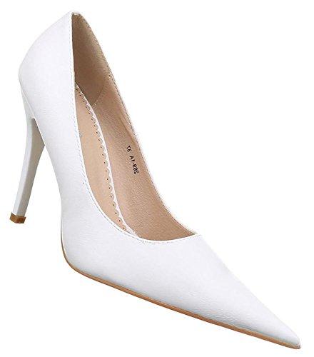 Damen Pumps Schuhe High Heels Stiletto Abendschuhe Stiletto Creme weiss 36 37 38 39 40 41 Weiß
