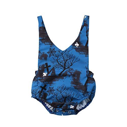 (Halloween Neugeborenen Baby Body One Piece Strampler Anzug Baby Kleidung Printed Horror Landschaft Halloween Baby Boy Girl Ärmel Riemen Kleidung(0-24Months))