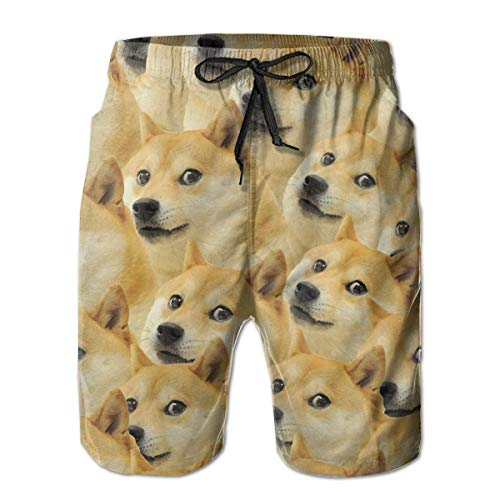 akingstore Funny Doge Pattern Meme Herren Strandhose Badehose Quick Dry Board Short mit Taschen