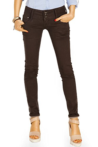 Bestyledberlin Damen Röhrenjeans, Hüftige Skinny Fit Jeans, Super Stretch Hüftjeans eng j52f 42/XL (Braune Skinny Jeans)