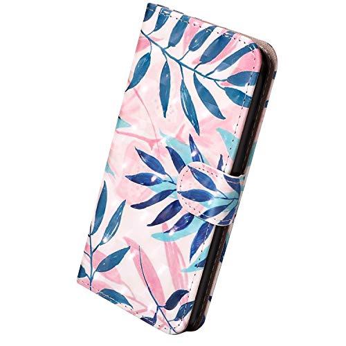 Herbests Kompatibel mit Samsung Galaxy S10e Hülle Leder Wallet Leder Tasche Flip Cover Vintage Bunt Muster Handyhülle Wallet Case Schutzhülle Klappbar Magnetisch Etui Kartenfach,Grün Blatt