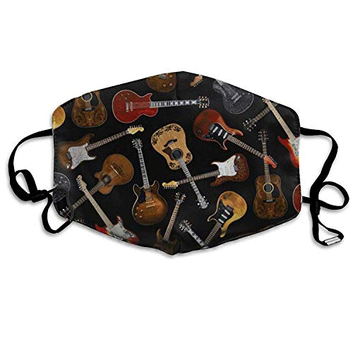 vintage cap Face Masks with Design, Kids Guitars Dust Mask, Antibacteria Comfortable Activated Carbon Filter Insert Washable Polyester Mouth Mask with Adjustable Straps