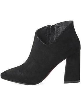 Resorte femenino botas de tacón alto gruesas botas con los solos zapatos señalaron botines de fregado , black...
