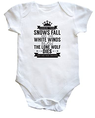 Hippowarehouse When the snows fall and the white winds blow the lone wolf dies but the pack survives baby vest bodysuit (short sleeve) boys girls