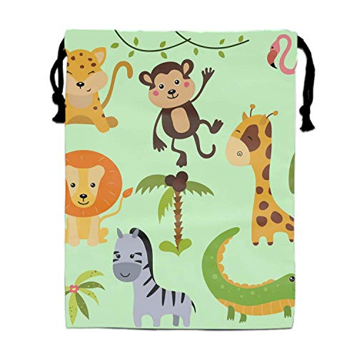 Turnbeutel Rucksack Bags Bulk for Kids, Kiddie Treats Such as Toy Gift Sack, Carry Cinch Bag, Promotional Durable Double-Sided Daypack- Different African Animals