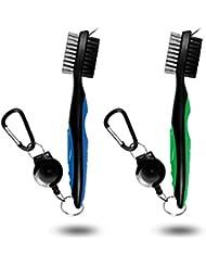 JZHY 2 Pack Golf Club cepillo ligero 2Ft cepillo de golf retráctil y Club Groove limpiador con Zip-line de aluminio Carabiner(azul&verde)