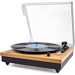 Platine Vinyle,VIFLYKOO Platine Vinyle à encodeur numérique portabl Bluetooth avec Haut-parleurs stéréo intégrés à Trois Vitesses 33/45/78 TR / Min et entrée / Sortie AUX - Bois Naturel (TT202-ICPJ)
