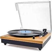 Vinyl Plattenspieler,VIFLYKOO Bluetooth tragbaren Vinyl Plattenspieler Turntable und Digital Encoder mit Lautsprecher Riemenantrieb Aux-In RCA 33/45/78 U/min - natürliches Holz