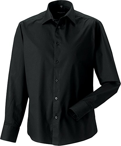 Russell Collection Herren L/S Shirt Fitted Easy Smart & stylische förmlichen Workwear Braun - Chocolate