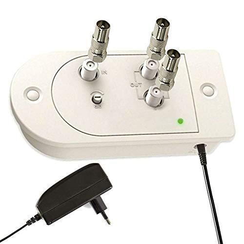 TronicXL Profi Kabelfernsehen Verstärker CATV Kabel Fernsehen Zweigeräteverstärker + Rückkanal TV-Verstärker 15dB mit 2 Ausgängen und Verstärkungsregelung DVB-C