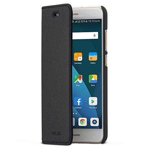 CASEZA Huawei P10 Lite Funda Negro Tipo Libro Piel PU Case Cover Carcasa Plegable Cartera Oslo Piel Vegana Premium para Huawei P10 Lite (5.2') Original - Ultrafina con Cierre Magnético