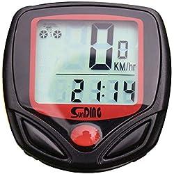 Goodplan Compteur de Vitesse de vélo sans Fil étanche avec rétro-éclairage LCD Multifonction chronomètre de vélo 1 PCS