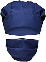 BeAcient Scrub Cap Surgical Bouffant Paytail Scrub Hat Adjustable Turban Cap with Sweatband and Cotton Mask fo