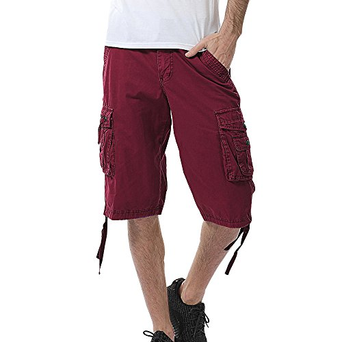GreatestPAK Pants Pure Color Shorts Herren Outdoor Taschen Strand Arbeit Hosen Cargo Pant (32(M), Weinrot) (Herren Glitzer Hose)